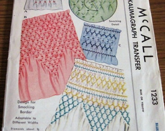 Vintage McCall's 1233 Kaumagraph Transfer Pattern For Smocking Border Designs Adaptable To Different Widths Circa 1945