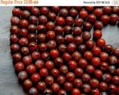 Sale 8mm Poppy Jasper Round Polished Gemstone Beads, Half Strand (INDOC945)