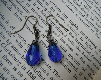 Handmade Faux Sapphire Blue Crystal Faceted Drop Earrings