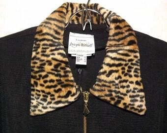 Joseph Ribkoff, black, 2 piece, Jumpsuit, Catsuit,  w/ jacket w/ Faux Fur Collar & Cuffs, Sz 12, sleek, costume, retro pants suit