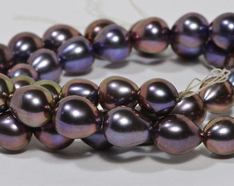 """Brown Pearl 9x8.3mm 8"""" inch Strand Cultured Pearl Beads Jewelry Making Supplies"""