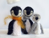 Decorative Soft Toy, PENGUIN FAMILY finger puppets, needlefelted from wool, children, kids, baby