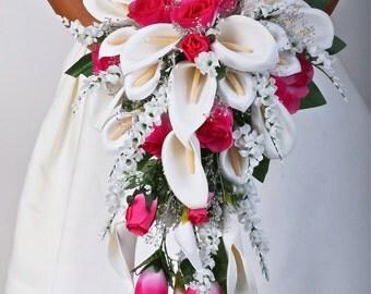 Love ARIEL FUSCHIA Wedding Bouquet Package Bridal Bridesmaid Groom Boutonnieres Corsages Keepsake Bouquets Roses Silk Floral Custom Flowers