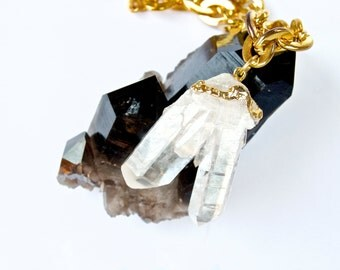 Crystal Quartz- Raw Mineral- Necklace/Pendant/choker- on Gold Vintage 'Chanel' chain