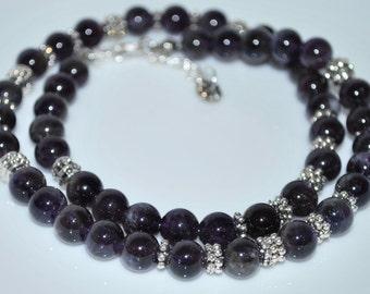 Mens Necklace, Men's Necklace, Amethyst Necklace, Gemstone Necklace, Unisex Necklace