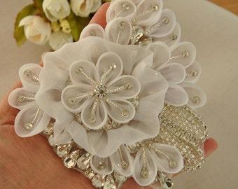 flower rhinestone applique, 3D chiffon rosette crystal beaded applique for wedding belt, bridal sash