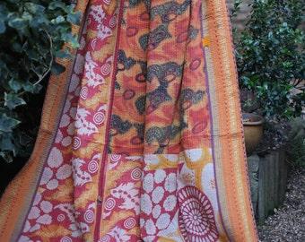 Orange Kantha quilt, Sari throw, Sari Blanket, Kantha Blanket, Vintage Kantha Quilt, Indian Quilt, Coverlet, Ralli Quilt,Kantha