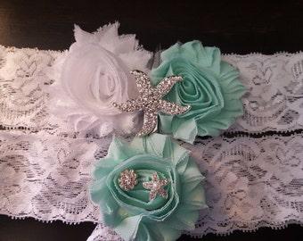 Mint and White Starfish Garter Set, Beach Wedding, Starfish Wedding Garter
