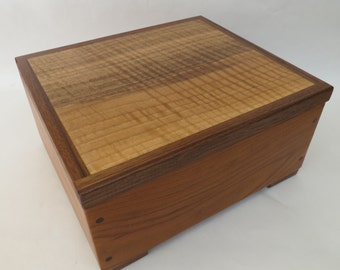 Wooden box from walnut, figured walnut, and cherry