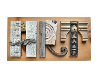 ART sign architectural salvage typography letters mixed media assemblage art, ORIGINAL ART by Elizabeth Rosen
