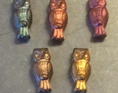 Czech Owl Bead 15mm X 7mm Metallic Mix 1 Strand