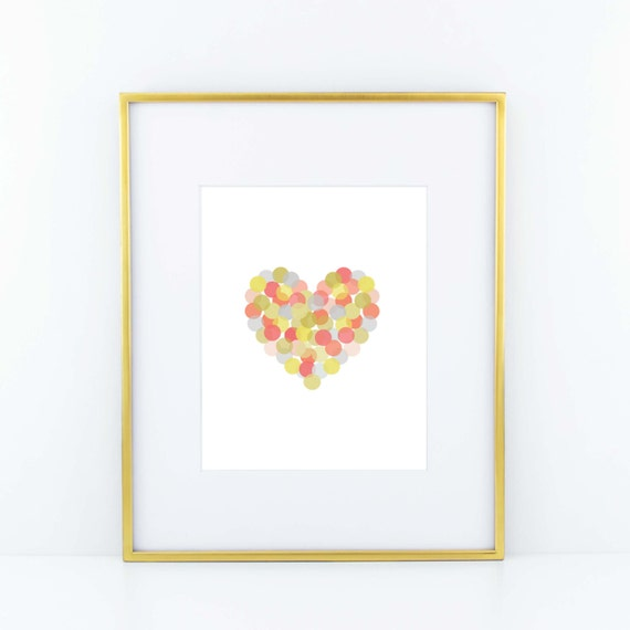 Confetti Heart Print- Green, Pink, Blue, Yellow