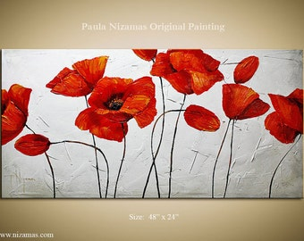 "Red Poppies 48"" x 24"" palette knife thick texture Modern Floral painting by Paula Nizamas ready to hang"
