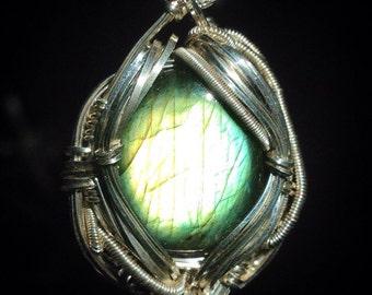 Labradorite wire wrapped pendant | .925 sterling silver | original handmade by Jon Hixson