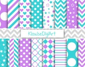 Purple and Turquoise Printable Digital Paper Pack with Chevrons, Dots, Quatrefoil and Stripes for Personal and Small Commercial Use (0065)