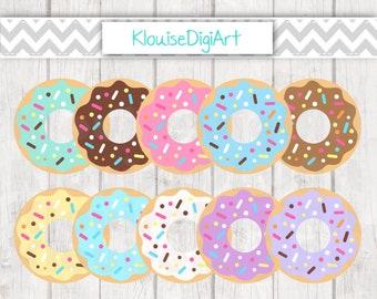 Sprinkled Donuts Digital Clipart in Strawberry, Chocolate, Mint, Lemon, Vanilla, Fudge and more - C014