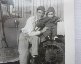 Vintage Photograph Father and his Young Daughter Sitting on Fender Antique Car Automobile 1920s Black & White Picture Snapshot VTG 9-1
