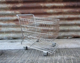 Vintage Miniature Shopping Cart Salesman Sample or Toy Metal 1950s Era Retro Grocery Cart Buggy Chrome Mid Century Mod Original vtg Cart