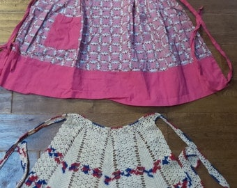 Set of 2 Red White and Blue Crocket Vintage Apron Pink and green floral handmade tie back