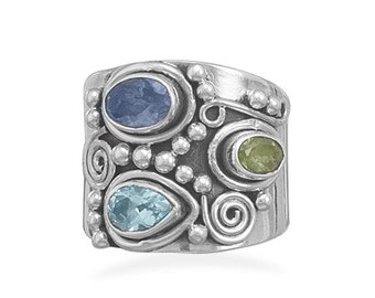 Sterling Silver Ornate Peridot Topaz Iolite Gemstones Multistone Ring