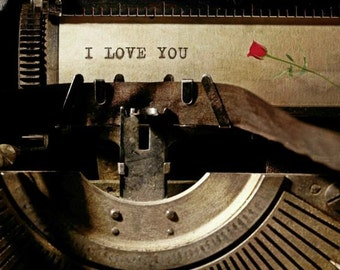 Vintage Typewriter Photograph Print with I Love You message