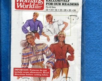 Vintage 1986 Woman's World 7/1986 Blouses with Tuck on the Strong Shoulders Sizes 12 to 24 UNCUT