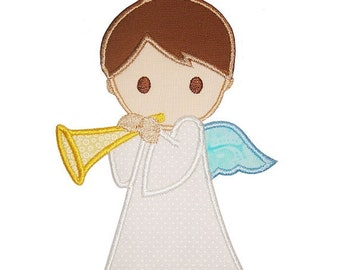 Boy Angel Applique Embroidered Patch , Sew or Iron on
