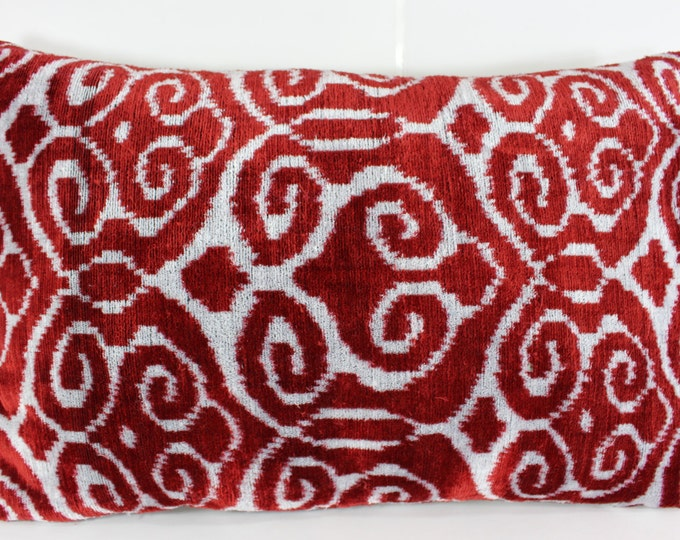 Silk Velvet Ikat Pillow Cover Lp307, Bohemian pillow, Velvet Ikat Pillow, Velvet Pillow