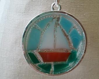 Orange Mosaic Boat Necklace