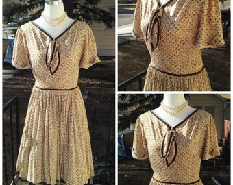 Vintage 1950s Brown Cream Floral Atomic Print Rockabilly VLV XS Small