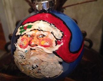 """Santa in the Blue Ornament, 3 1/7"""""""