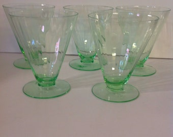 5 Green Depression Era Ribbed Footed Glassware, Fine Dining