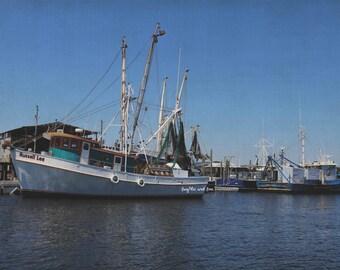 Fishing Boats Photo, Nautical Photography, Ships in Harbor Water Art, Coastal Tropical Decor, Beach House Home Decor Wall Art, Travel Art