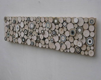 Wood Slice Wall Art-Wood Sculpture,Painted Wood Slices,Tree Rings Circles  Black and White,Abstract Modern Home Decor