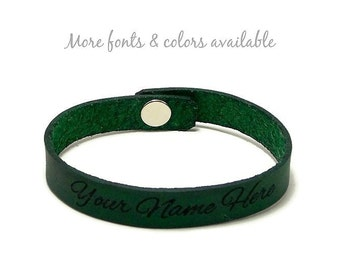 Personalized Wristband, Custom Leather Cuff, Laser Engraved Name Bracelet, Custom Name Band