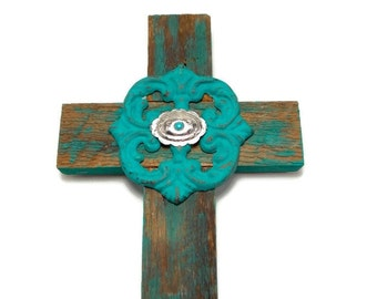 "Christian Home Decor, 7"" x 12"", Barnwood Cross, Western Home Decor, Barnwood Art, Gifts Under 25"