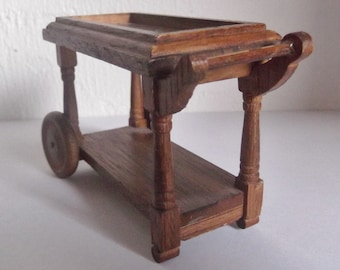 Dollhouse Furniture Vintage Wooden Tea Cart for Dollhouse Wood Dollhouse Furniture