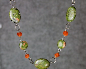 Unakite cateye beaded necklace Bridesmaids gifts Free US Shipping handmade Anni Designs