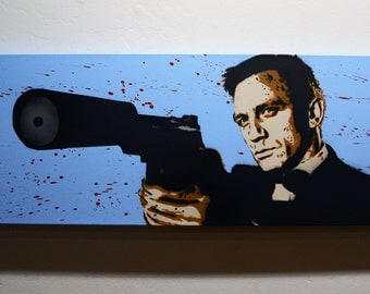 007 Daniel Craig - Spray Paint stencil art on canvas