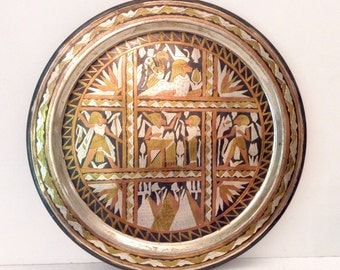 Vintage Egyptian Tray, Mixed Metals