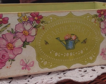 Rustic Decoupaged wooden tray organiser Garden Party