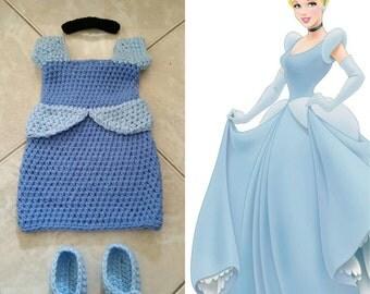 Crochet Cinderella Outfit (dress, headband, choker, booties)