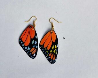 Butterfly Earrings Monarch winged Earrings Handmade Painted Front & Back Fish Hook Earrings Insects Jewelry Dangle earrings