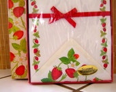 """Vintage 80's  """"AMERICAN GREETINGS""""  Scented Boxed Stationery """"CAPRICE"""" Design - Strawberry Bordered Letter Sheets"""