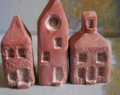 miniature houses 3 mini village handmade  see all 2 sets to create entire town  TERRA COTTA