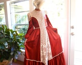 RESERVED Vintage Lorrie Deb dress lace and satin rust  victorian 1970's maxi union tag boho hippie: small, medium