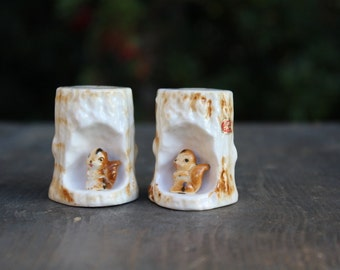 Woodland Squirrels in Tree Trunks Salt and Pepper Shakers Bone China