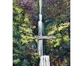 Watercolor ORIGINAL -Multnomah- waterfall, Oregon, Columbia River, Northwest, bridge, travel, river