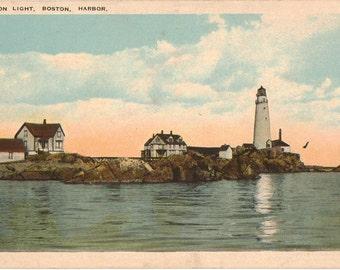 Linen Postcard, Boston Light, Boston Harbor, Boston, Massachusetts, ca 1940
