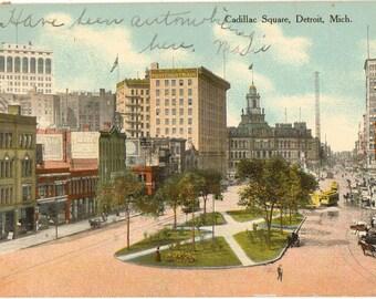 Vintage Postcard, Detroit, Michigan, Cadillac Square, 1909